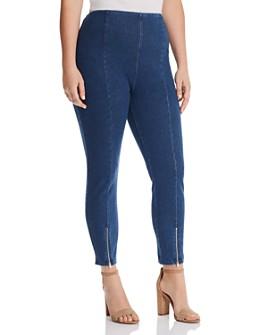 Lyssé Plus - Cropped Front-Zip Legging Jeans in Mid Wash