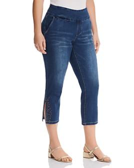 JAG Jeans Plus - Naomi Studded Cropped Jeans in Medium Indigo
