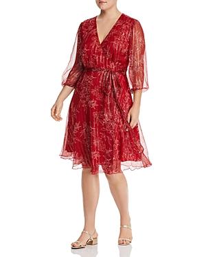 Maree Pour Toi Plus Sketched-Floral Dress