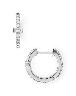 Nadri Mercer Baguette & Pave Huggie Hoop Earrings