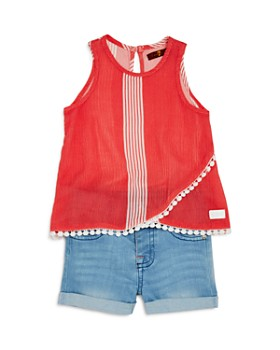 7 For All Mankind - Striped Top & Denim Shorts Set - Baby