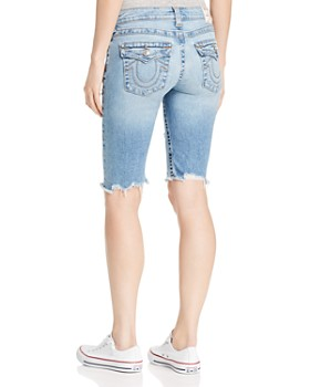 True Religion - Riley Shredded Denim Bermuda Shorts