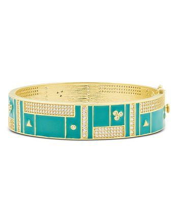 Freida Rothman - Harmony Wide Bangle Bracelet in 14K Gold-Plated Sterling Silver