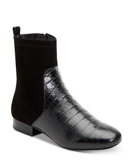 Taryn Rose - Women's Floriana Suede & Crocodile-Embossed Leather Booties