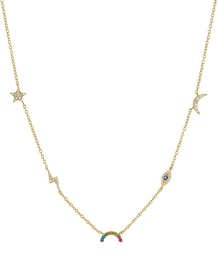 """AQUA - Celestial Drop Necklace in 18K Gold-Plated Sterling Silver, 15"""" - 100% Exclusive"""