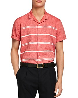 Scotch & Soda - Short-Sleeve Striped Linen Slim Fit Shirt