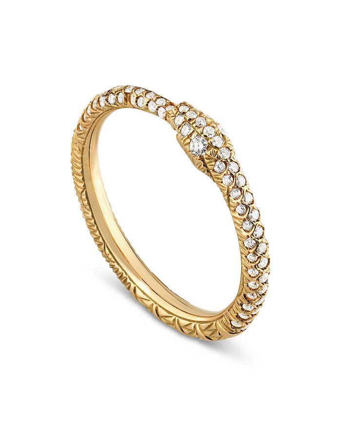 Gucci - 18K Yellow Gold Ouroboros Diamond Ring