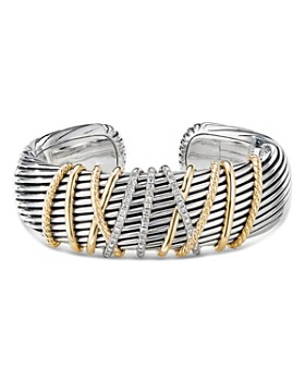David Yurman - Sterling Silver & 18K Yellow Gold Helena Diamond Cuff Bracelet