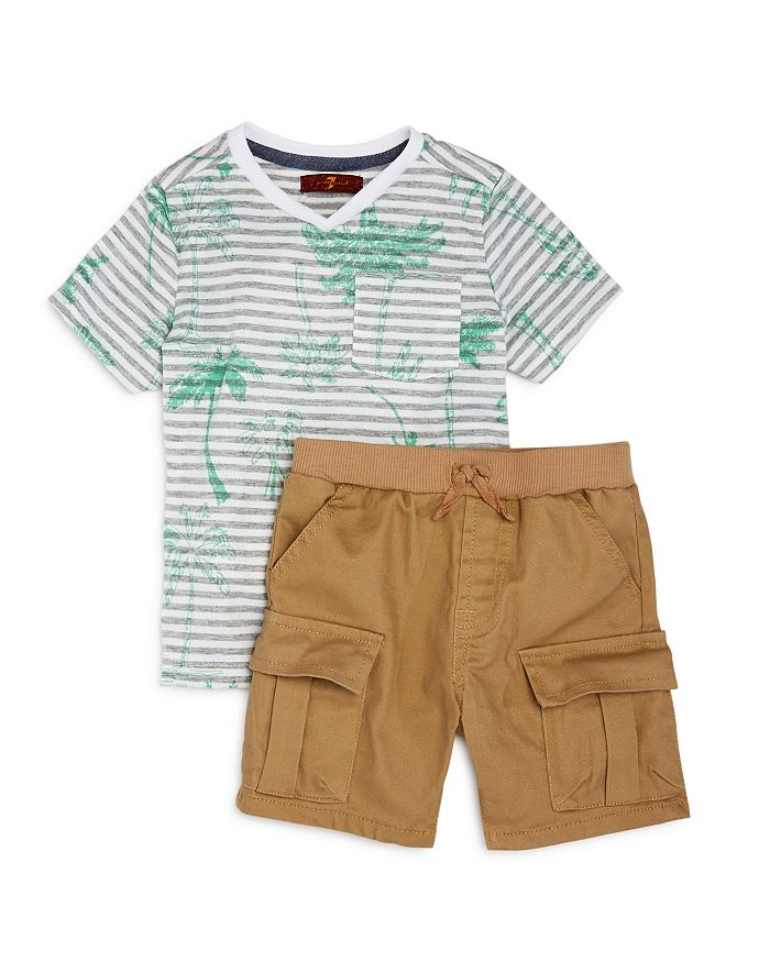 7 For All Mankind - Boy's Palm Tree Tee & Cargo Shorts Set - Baby