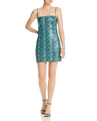 Viper Snakeskin Print Faux Leather Mini Dress by Tiger Mist