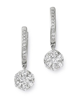 Bloomingdale's - Cluster Diamond Drop Earrings in 14K White Gold, 0.80 ct. t.w. - 100% Exclusive