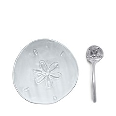 Mariposa - Sand Dollar Ceramic Canape Plate & Sand Dollar Spoon