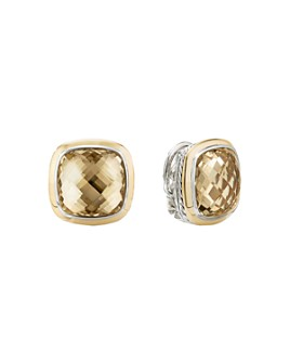 David Yurman - Sterling Silver & 18K Yellow Gold Albion Champagne Citrine Stud Earrings