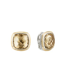 David Yurman - Sterling Silver & 18K Yellow Gold Albion Champagne Citrine Stud Earrings
