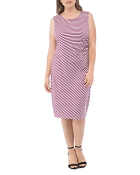 B Collection by Bobeau Curvy - Estelle Striped Side-Ruched Dress