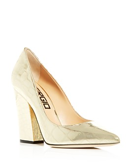 Sergio Rossi - Women's Embossed Pointed-Toe High-Heel Pumps