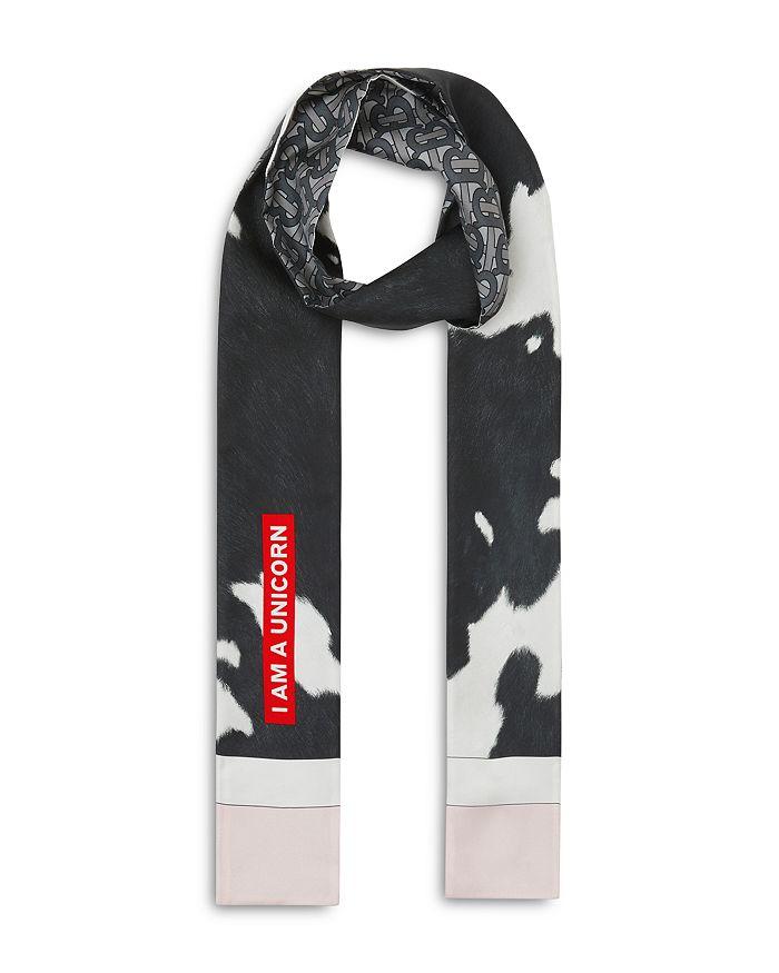 Burberry - Monogram & Cow Print Silk Skinny Scarf
