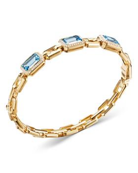 David Yurman - 18K Yellow Gold Novella Bracelet with Blue Topaz