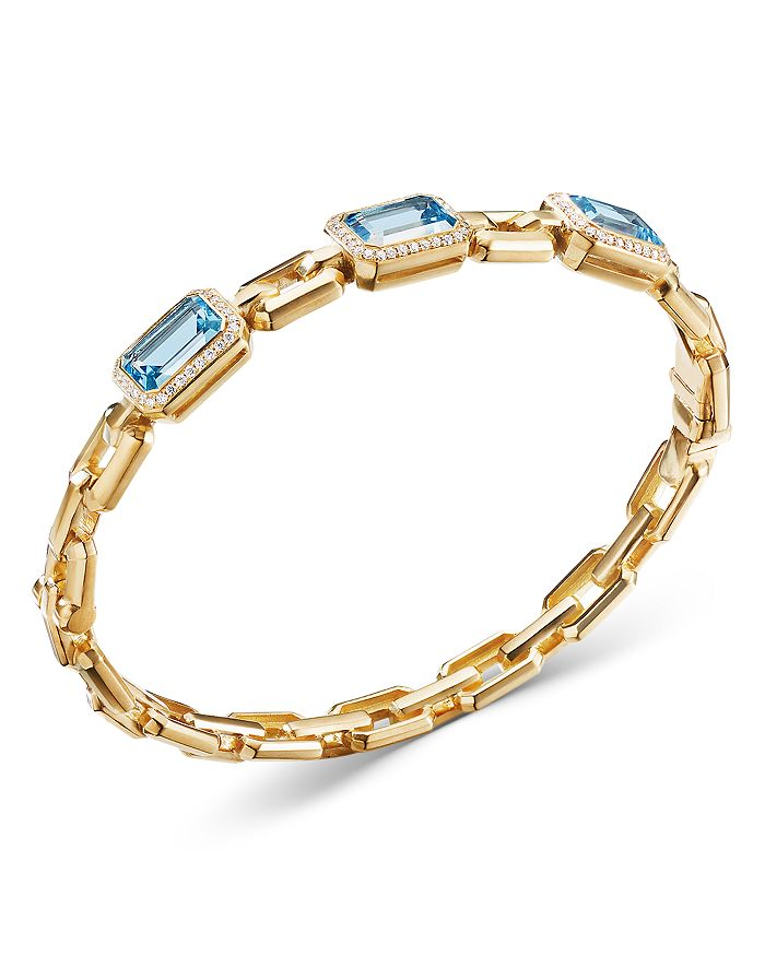 David Yurman - 18K Yellow Gold Novella Bracelet with Blue Topaz