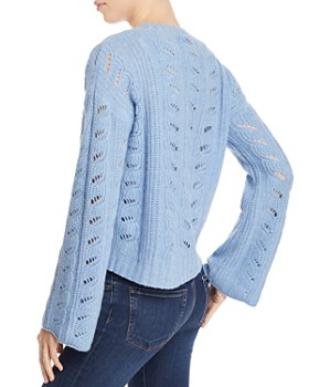 AQUA - Bell-Sleeve Pointelle Cashmere Sweater - 100% Exclusive