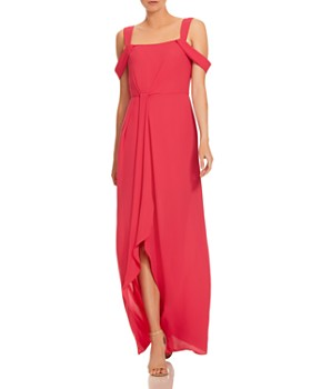 HALSTON - Draped Georgette Cold-Shoulder Gown