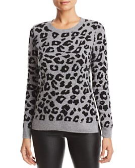 C by Bloomingdale's - Leopard Jacquard High/Low Cashmere Sweater - 100% Exclusive