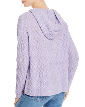 AQUA - Cable-Knit Hooded Cashmere Sweater - 100% Exclusive