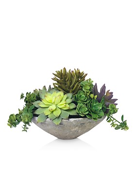Diane James Home - Blooms Echeveria Succulents Faux Floral Arrangement in Clay Bowl