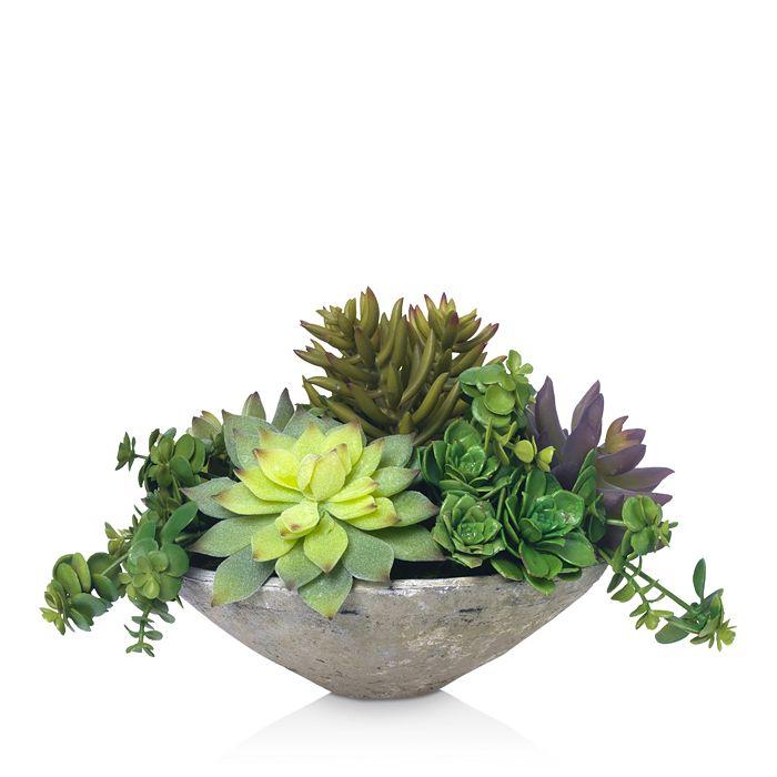 Diane James Home - Blooms Echeveria Succulents Faux Floral Arrangement in Clay Bowl