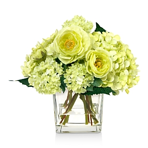 Diane James Home Blooms Mixed Green Faux Floral Arrangement in Glass Cube