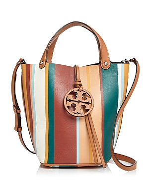 Tory Burch Miller Striped Medium Leather Bucket Bag