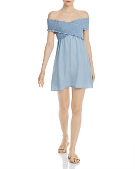Show Me Your MuMu - Mandy Off-the-Shoulder Smocked Mini Dress