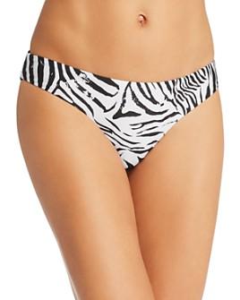 PilyQ - Zebra Basic Ruched Bikini Bottom