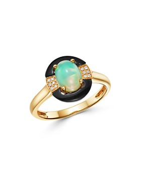 Bloomingdale's - Opal, Black Onyx & Diamond Ring in 14K Yellow Gold - 100% Exclusive
