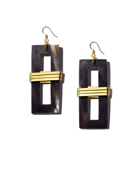 Tribe & Glory - Brass-Wrapped Rectangular Accent Drop Earrings
