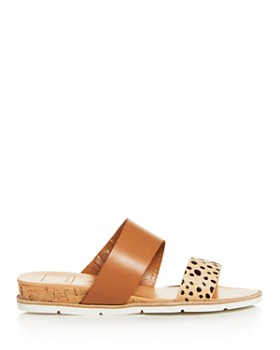 Dolce Vita - Leopard Print Calf Hair Slide Sandals