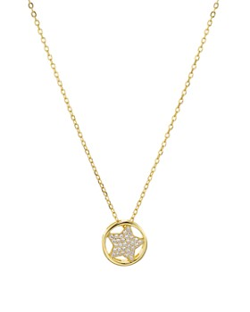 "AQUA - Star Circle Pendant Necklace in 18K Gold-Plated Sterling Silver, 16"" - 100% Exclusive"