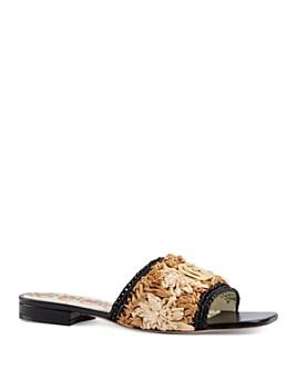 Gucci - Women's Jolie Raffia Crochet Flower Slide Sandals