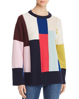 St. John - Oversized Color-Blocked Wool & Cashmere Sweater