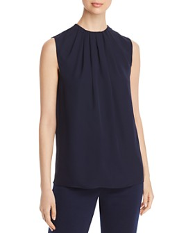St. John - Pleated Sleeveless Silk Georgette Top