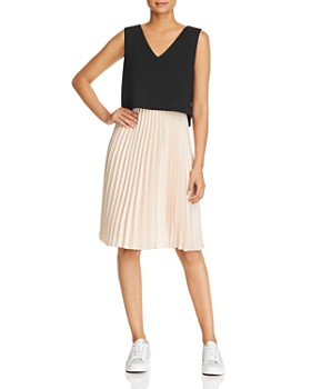 Donna Karan - Pleated Combo Dress