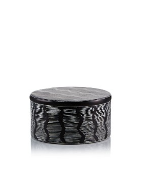 TO THE MARKET - Black Soapstone Box with Stripe Pattern, Large