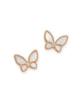 Roberto Coin - 18K Rose Gold Mother-of-Pearl & Diamond Butterfly Stud Earrings - 100% Exclusive