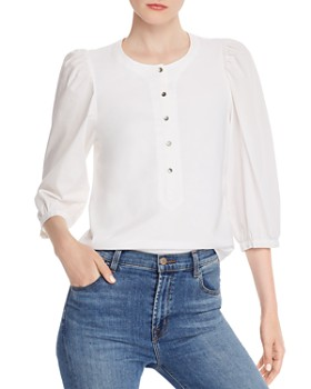 Rebecca Taylor - Poplin Jersey Button-Front Top