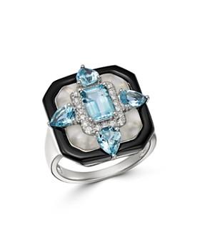 Bloomingdale's - Multi-Gemstone Art Deco Ring in 18K White Gold - 100% Exclusive