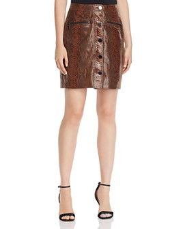 Elie Tahari - Tammy Snake-Embossed Leather Mini Skirt