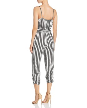 AQUA - Striped Wrap Jumpsuit - 100% Exclusive
