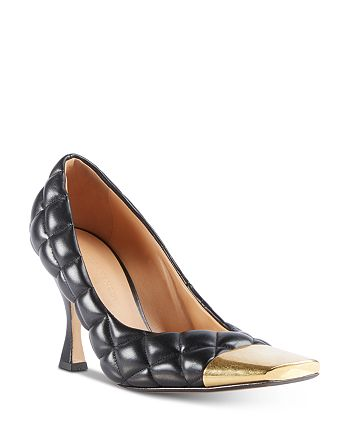 Bottega Veneta - Women's Quilted Leather Square Toe Pumps