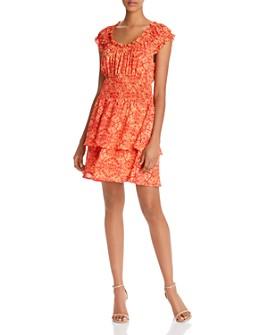 AQUA - Kaleidoscope-Print Smocked-Waist Dress - 100% Exclusive