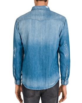 The Kooples - Blue Destroyed Denim Regular Fit Shirt